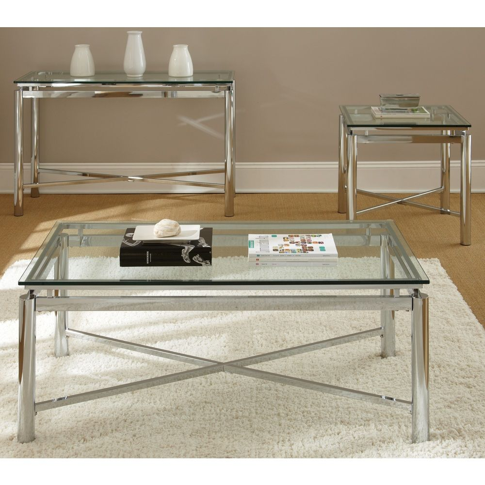 natal chrome and glass coffee table overstock shopping great deals on coffee sofa end. Black Bedroom Furniture Sets. Home Design Ideas