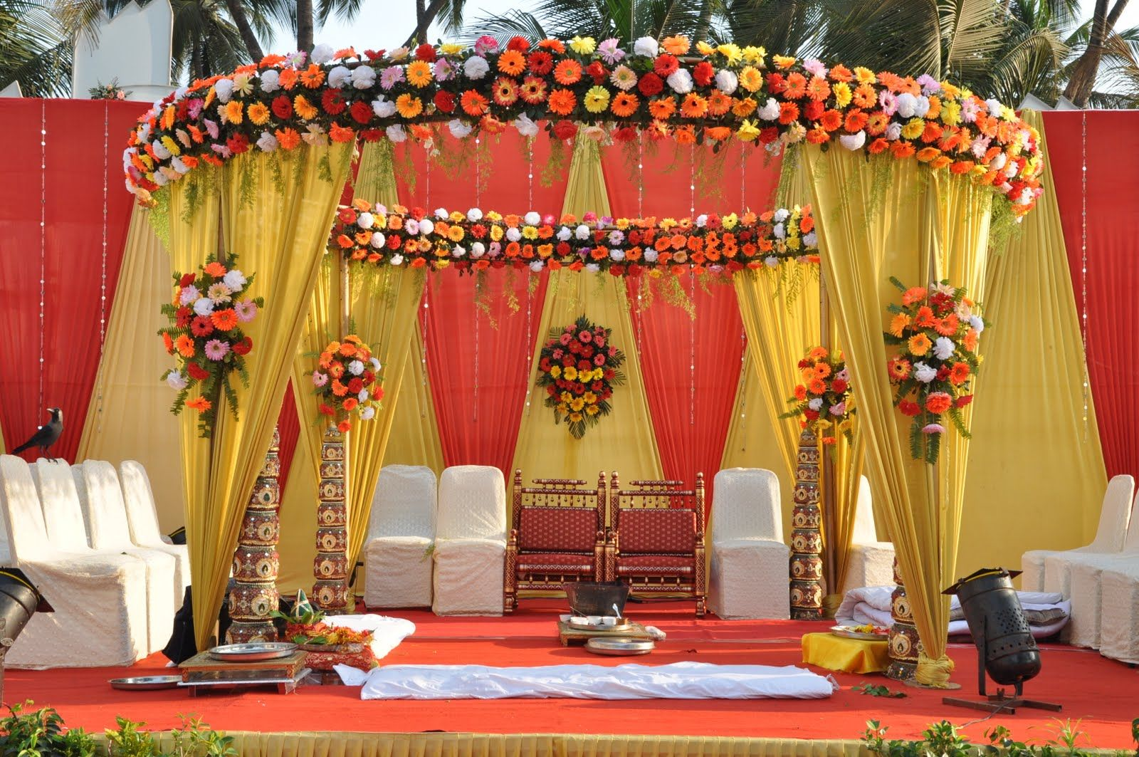 Indian wedding flowers decorations google search for Artificial flower decoration mandap