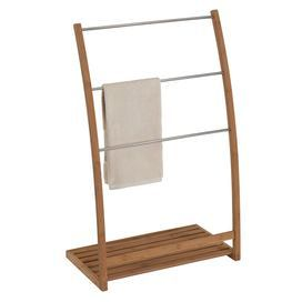 Bamboo Towel Stand With Three Hanging Rods And An Open Bottom Shelf Product Towel Standconstruction M Free Standing Towel Rack Bamboo Towels Creative Bath