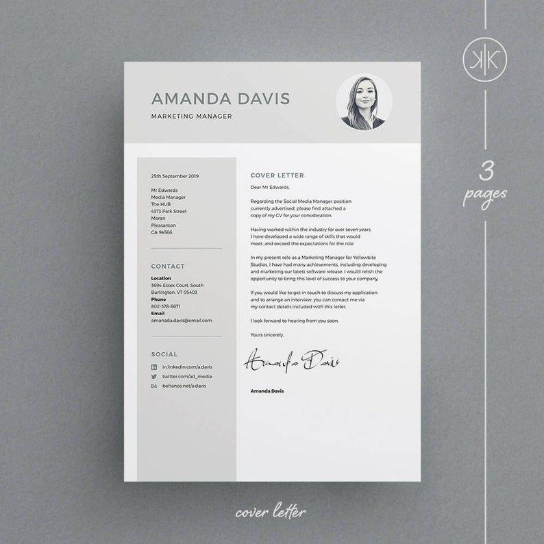 Amanda resumecv template word indesign etsy