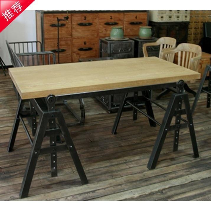 American Industrial Loft Style Retro Furniture Wrought Iron Wood Desk