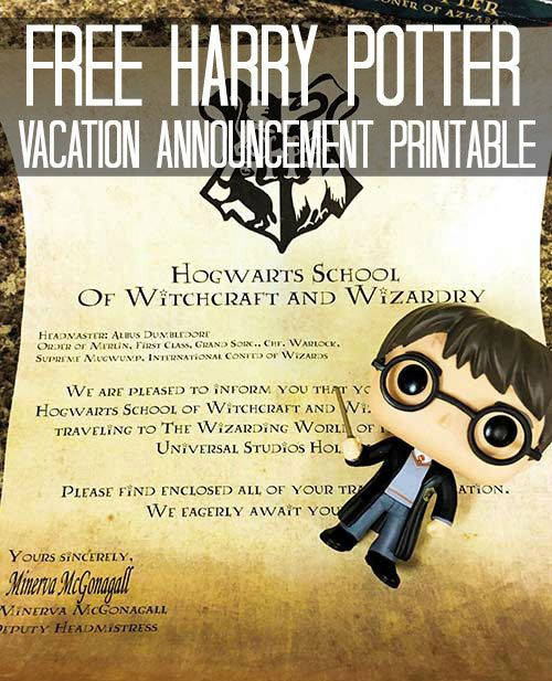 Free Harry Potter Vacation Announcement Printable For