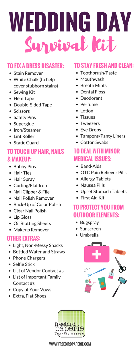 What to Pack: Wedding Day Survival Kit! As you finalize your preparations, think about packing an emergency kit for the day of the wedding. You never know what may come up, and trust me, you'll want to be prepared for anything! To help, I created this handy little list of items that you can throw in your kit so if wedding day disaster strikes, you're ready.