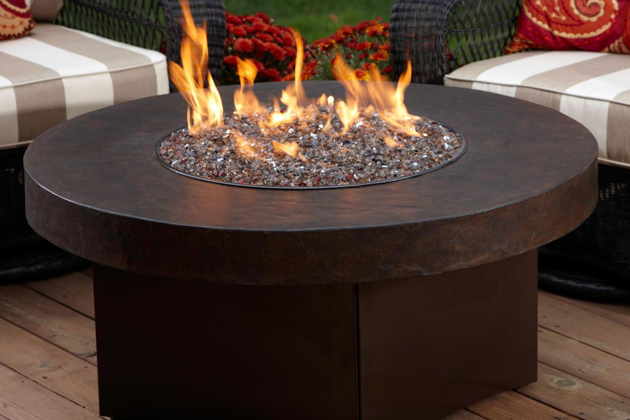 Outdoor round gas fire pit ideas on the table cover set with