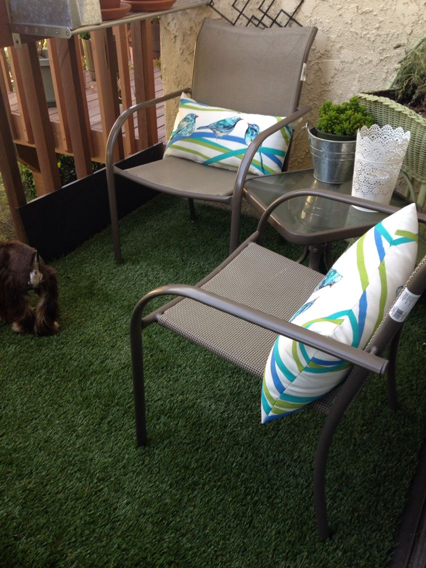 small outdoor balcony we used high pile astroturf to cover the patio looks like - Outdoor Patio Looks
