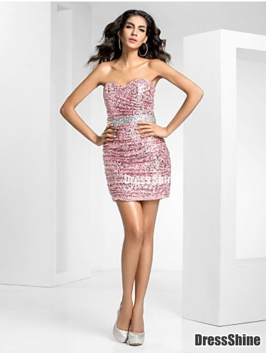 Sheath/Column Sweetheart Short/Mini Sequined Cocktail dress - HomeComing Dresses - Homecoming   Cocktail   Party