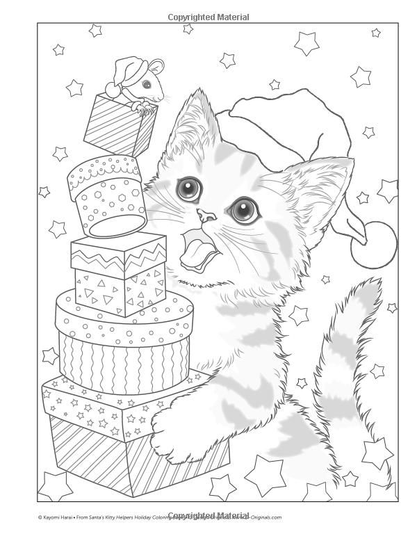 Santa S Kitty Helpers Holiday Coloring Book Design Originals 32 Expressive Eyed Christmas Cat Designs By Kayo Kitty Coloring Cat Coloring Page Coloring Books