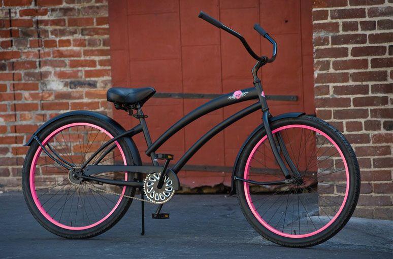 Skullxbones Women S Beach Cruiser Bike Flat Black Pink Beach Bicycle Beach Cruiser Cruiser Bike