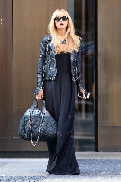 7c3563ac77 Rachel Zoe - Rachel Zoe Out and About in NYC in black maxi and leather  jacket