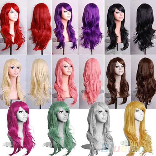Women Fashion Long Hair Wig Lady Curly Wavy Synthetic Cosplay Party Full Wigs