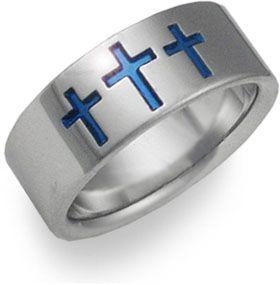Blue Cross Titanium Wedding Band On SonGear
