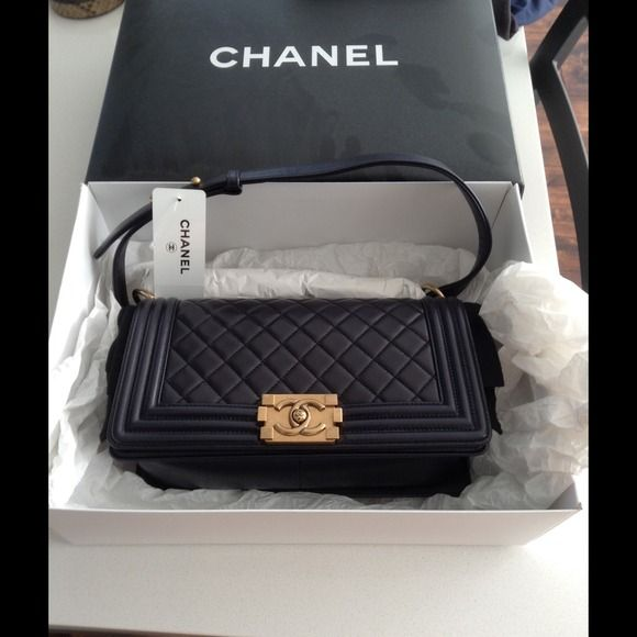 de7bb12b352b Authentic chanel boy bag old medium size Pearly black lamb skin with gold  hardware. Brand new got it from b. Goodman. No trade
