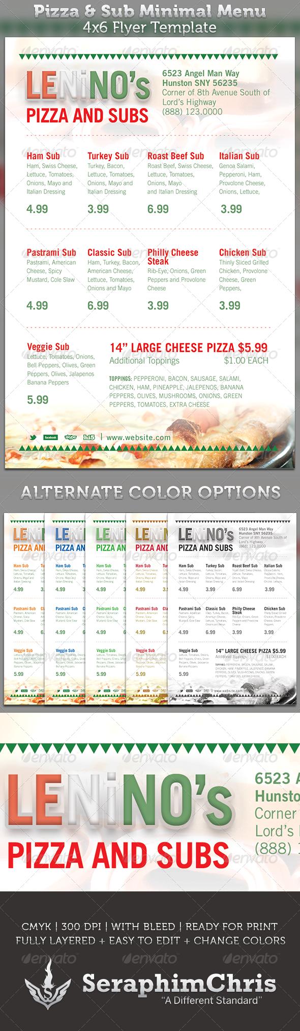 pizza  u0026 sub minimal 4x6 menu template