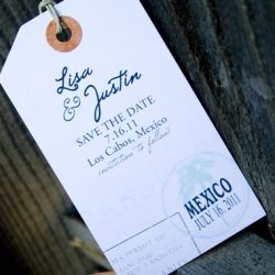 Tasteful destination wedding stationery including these sophisticated save the date luggage tags by Marvora Art & Design