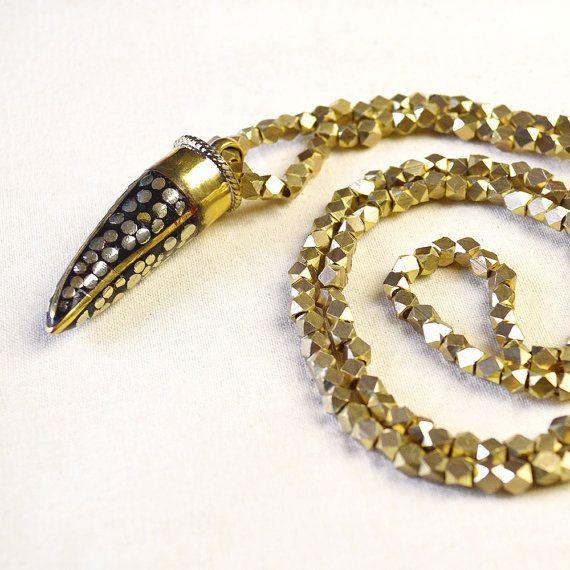 Brass & Silver Horn Necklace - Kurafuchi Jewelry