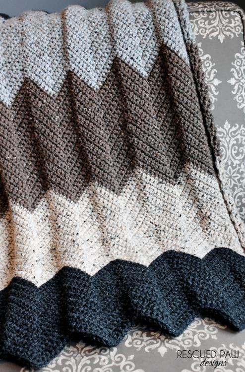 Neutral Chevron Crochet Blanket Pattern | Colores neutros, Manta y Color