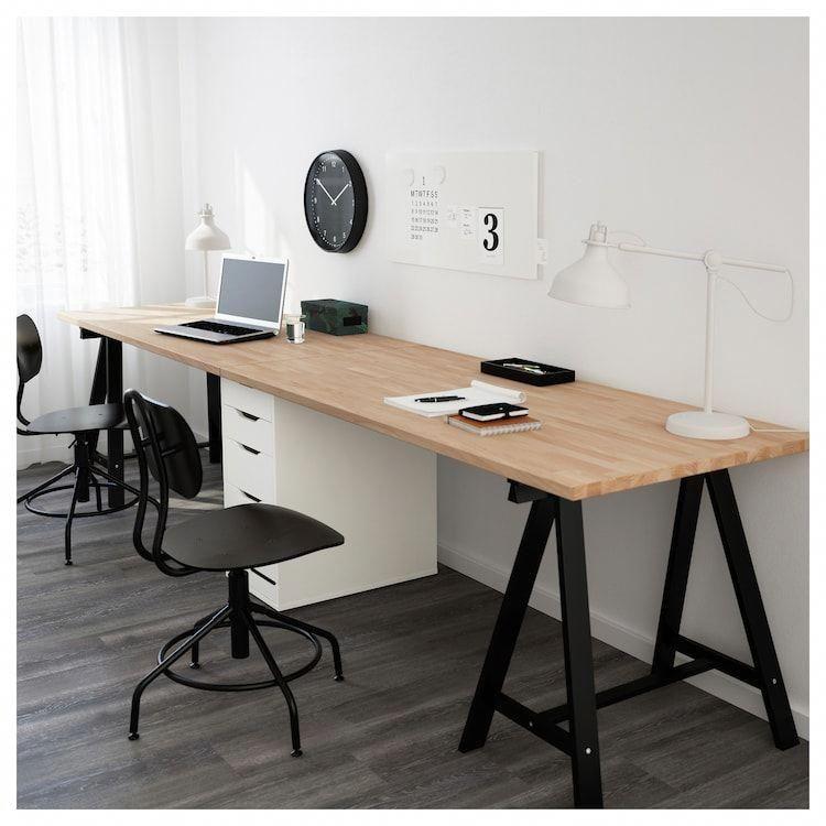 Gerton Table Beech Black White, Beech Desk Ikea
