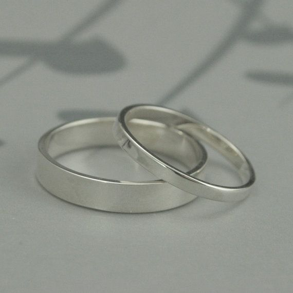 The Straight And Narrow Thin Bandssolid Sterling Silver Flat Etsy Wedding Rings Sets His And Hers Wedding Band Sets Silver Wedding Bands