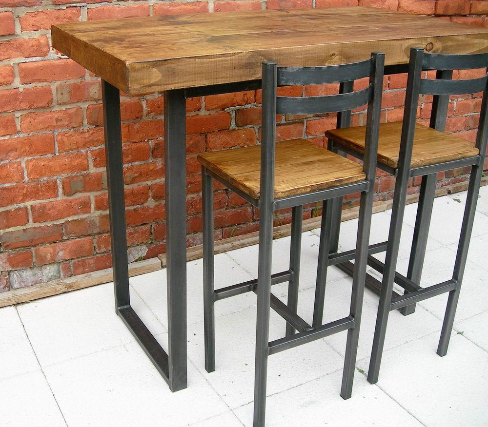 Breakfast Bar Table Two Bar Stools Rustic Industrial Half Wall