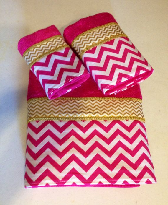 fuschia pink bathroom accessories. fuschia pink white and gold chevron bath towel set (ready to ship) bathroom accessories w