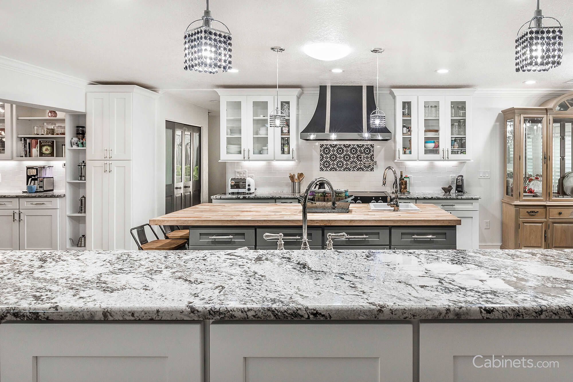 Island Cabinets Are Different Color Than Wall Cabinets Counter Surface Is Different Too Online Kitchen Cabinets Luxury Kitchen Design Kitchen Remodel Small
