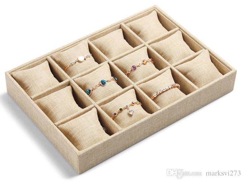 2017 High End Linen Jewelry Box Bracelet Watch Tray Jewelry Display