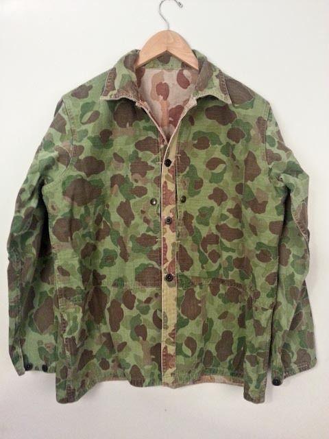 e81d4da32c1 Rare WWII USMC MARINE 1944 P44 Modified M44 HBT Camouflage Frogskin Shirt  Jacket