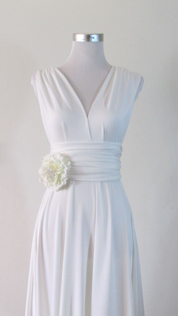 Simple wedding Dress, Convertible Dress in White Wedding Bride Infinity Dress Multiway Dress pastel white light Wrap dress on Etsy, $44.90