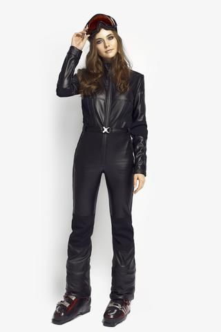 ef32bd664c All in one ski suit Black Widow Slim Fit Black PU Leather front view ...