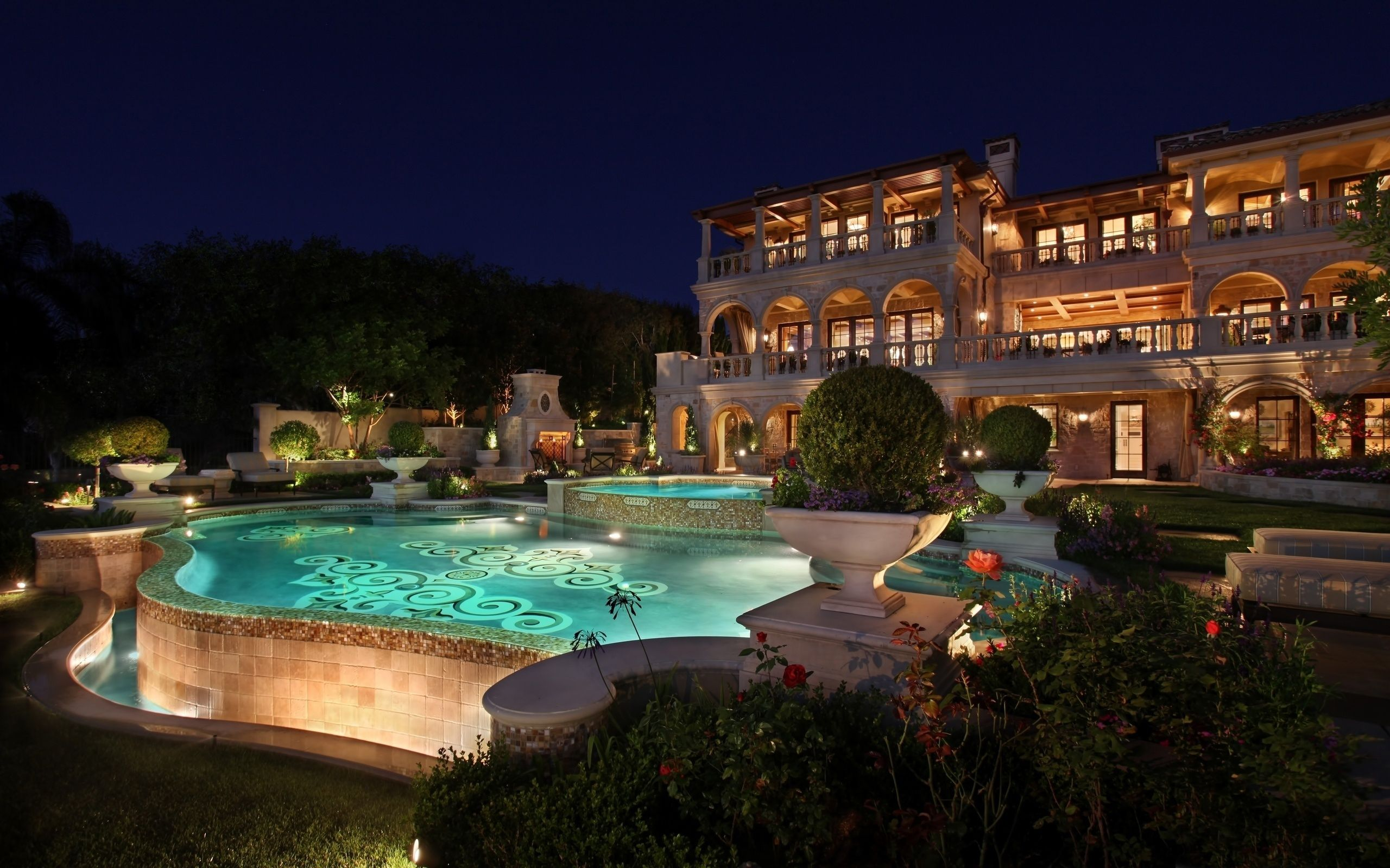 Mansion with pool at night  Mansion Wallpaper Hd Awesome Decoration 5 On Luxury Design Ideas ...