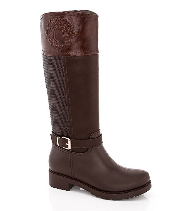 Look at this Rasolli Brown Queen Embossed Buckle Rain Boot on #zulily today!