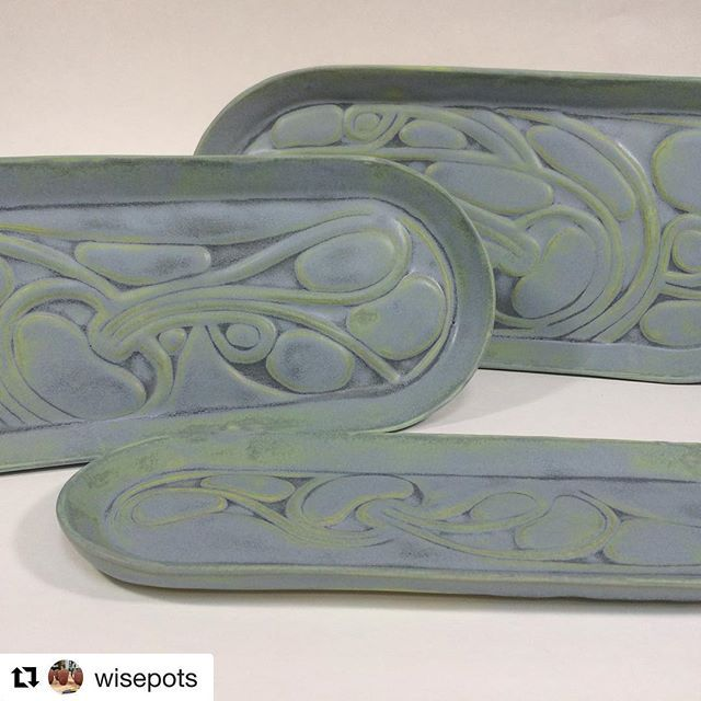 Love these platters @wisepots made with our Rounded Rectangle forms! #grpotteryforms ___________________________________________________________ @wisepots with @repostapp ・・・ New blue... #ceramics #pottery #madeinseattle #seattlemade #nativeinspiration #wisepots #pattern #carved #grpotteryforms