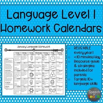 Language Level I Homework Calendars  Homework Calendar Homework