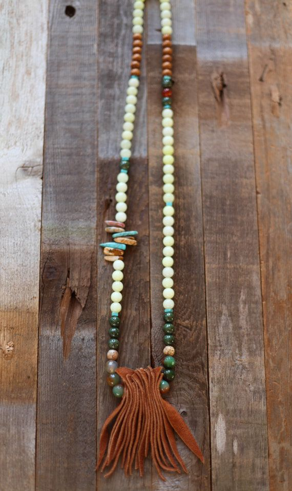Boho beaded brown suede fringe necklace by beigeandbarn on Etsy