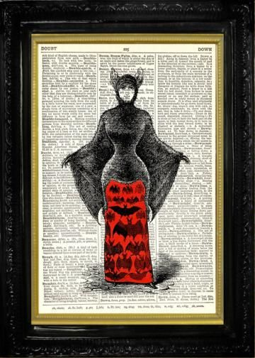 Bat Woman in Blood Red Skirt Halloween Costume, Dictionary Page Art Print,  Book Page Print, Upcycled Art by TheMuckyDuck for $10.00