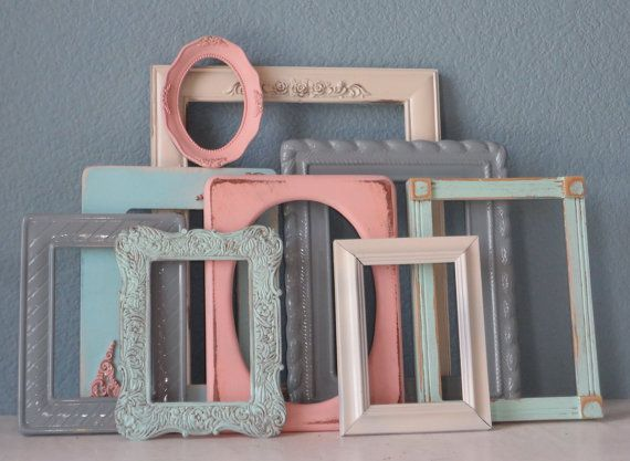 Set Of Shabby Chic Picture Frames Pastels Mixed With Cream And Gray