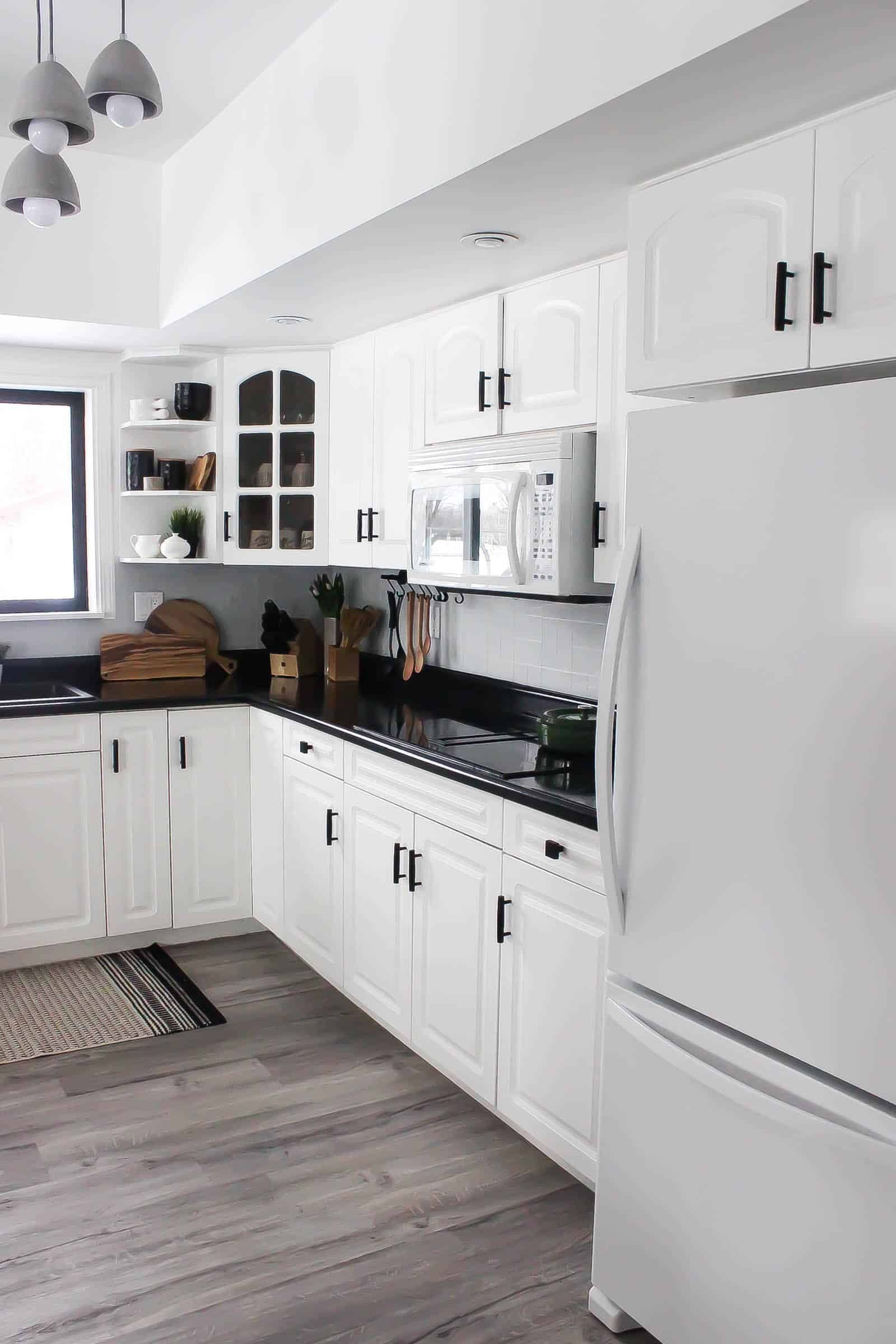 Our Weekend Renovation A New Modern Kitchen Love Create Celebrate In 2020 Interior Design Kitchen Black Countertops White Cabinets Black Countertops