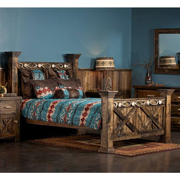 Antler Amp Barnwood Bed Home Ideas Wood Beds Door Bed