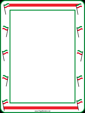 Green, white and red flags decorate this free, printable ...  Italian Border