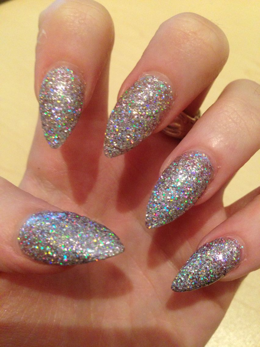 Birthday New Years Nails Stiletto Almond Acrylic Claws Glitter Sparkle Pointy Meow