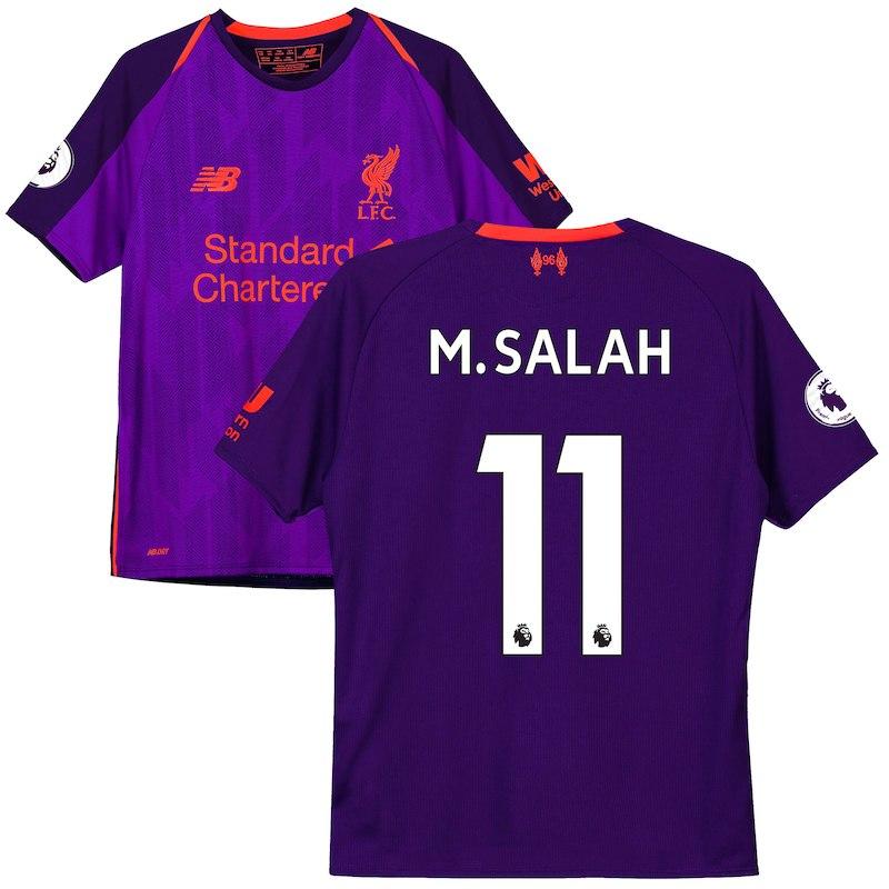 detailed look 4b433 9e251 Youth New Balance Mohamed Salah Purple Liverpool 2018/19 ...