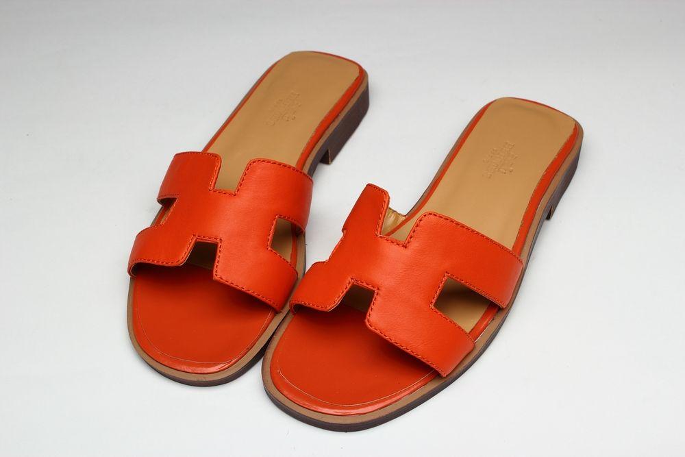 74f01f549d49 Hermes Orange Oran H Sandal Shoes