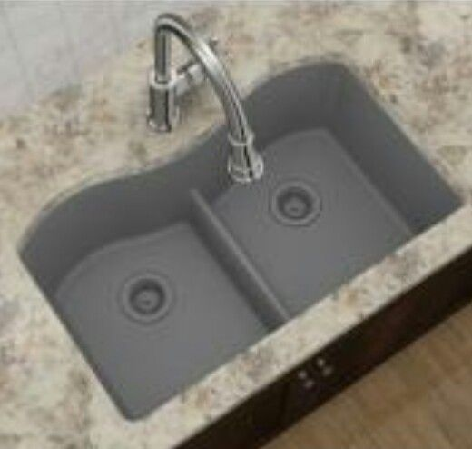 Elkay Composite Granite Sink In Graystone Available Through Home Depot Divider Between Bowls Is Shallow To Allow For Washing Long Baking Pans