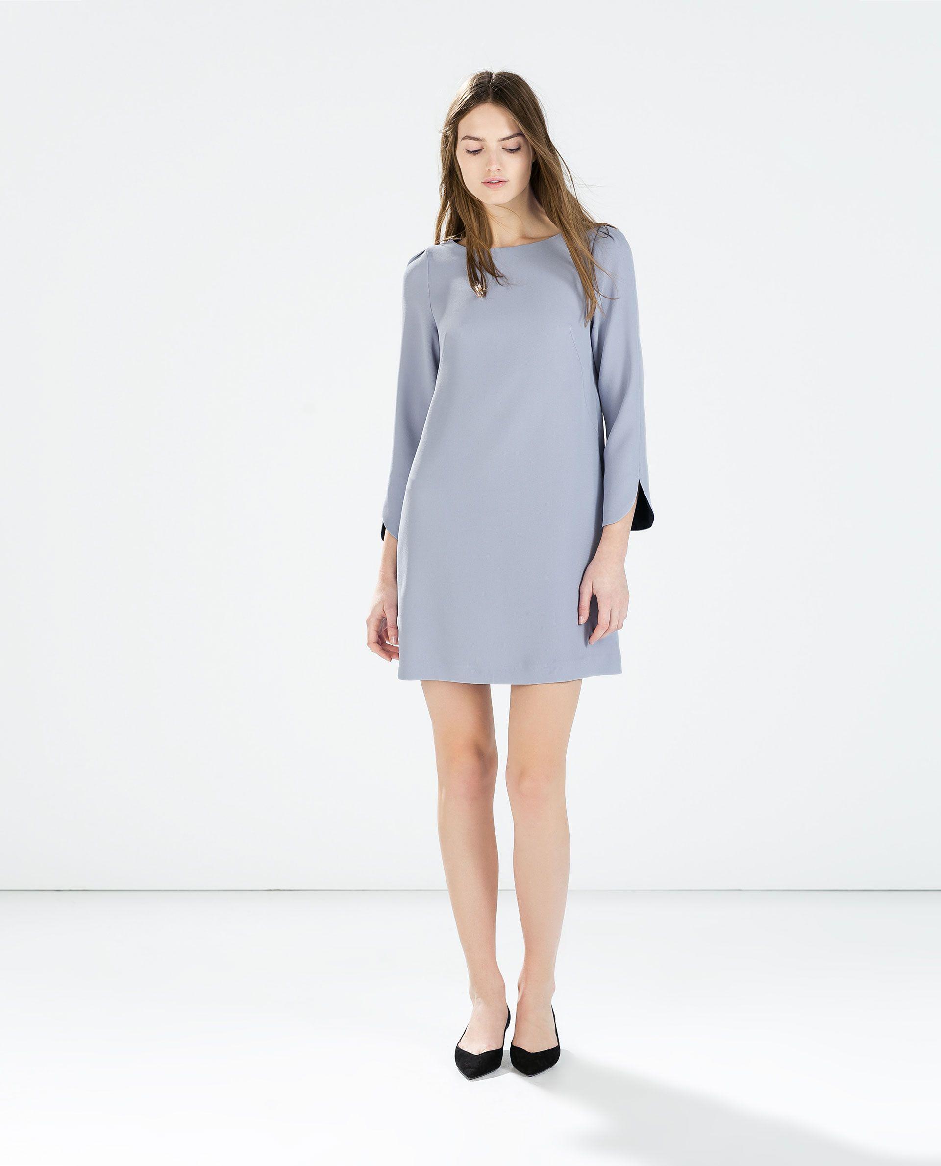 Zara femme robe encolure ras du cou vestidos cortos