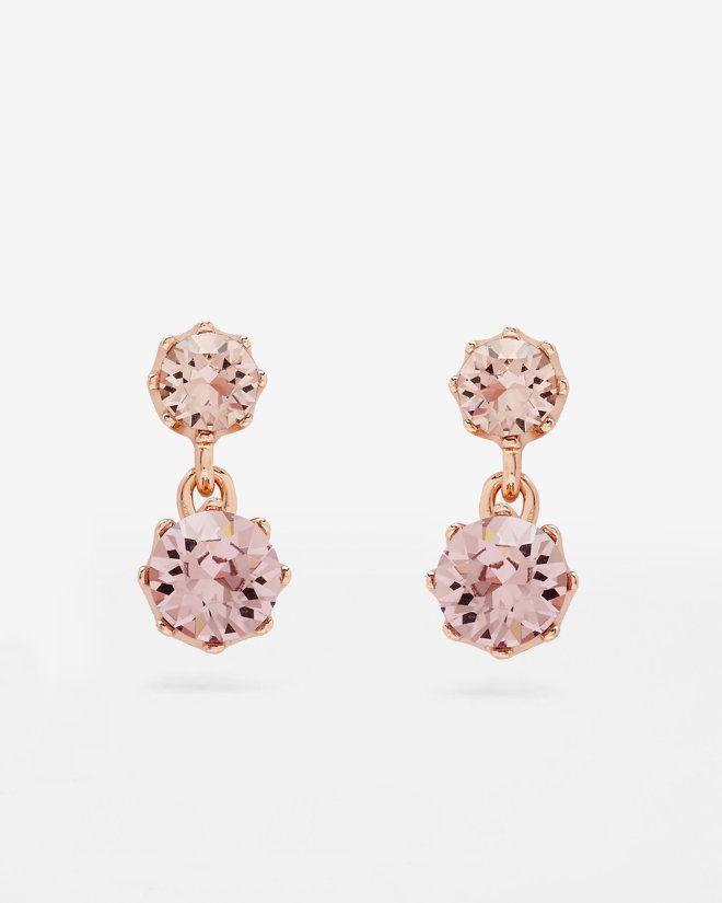 Crystal Drop Earrings Pink Jewellery Ted Baker Uk