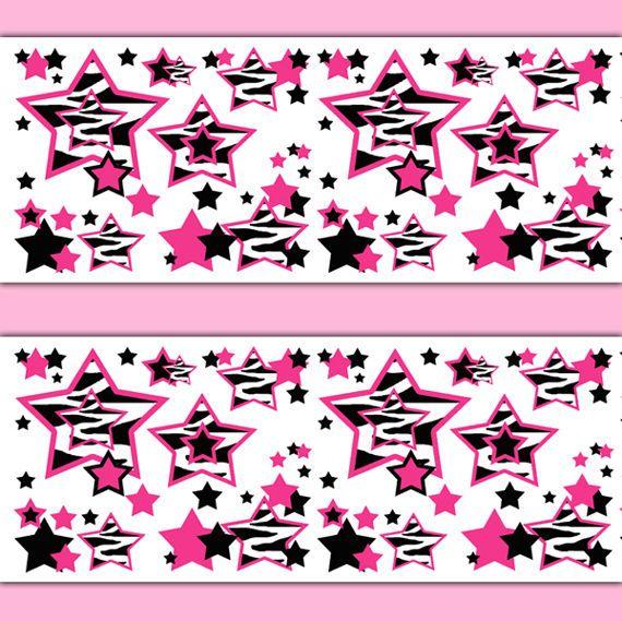 Hot Pink Zebra Wallpaper Border Decal Animal Print Girl Star Wall Art  Stickers #decampstudios