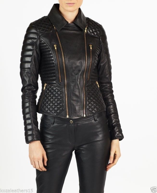 b4f79c18d New Hot Girls Authentic Lambskin Leather Motorcycle Slim fit ...