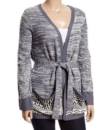 Look what I found on #zulily! Gray & Ivory Contrast-Pocket Tie-Waist Cardigan - Plus #zulilyfinds