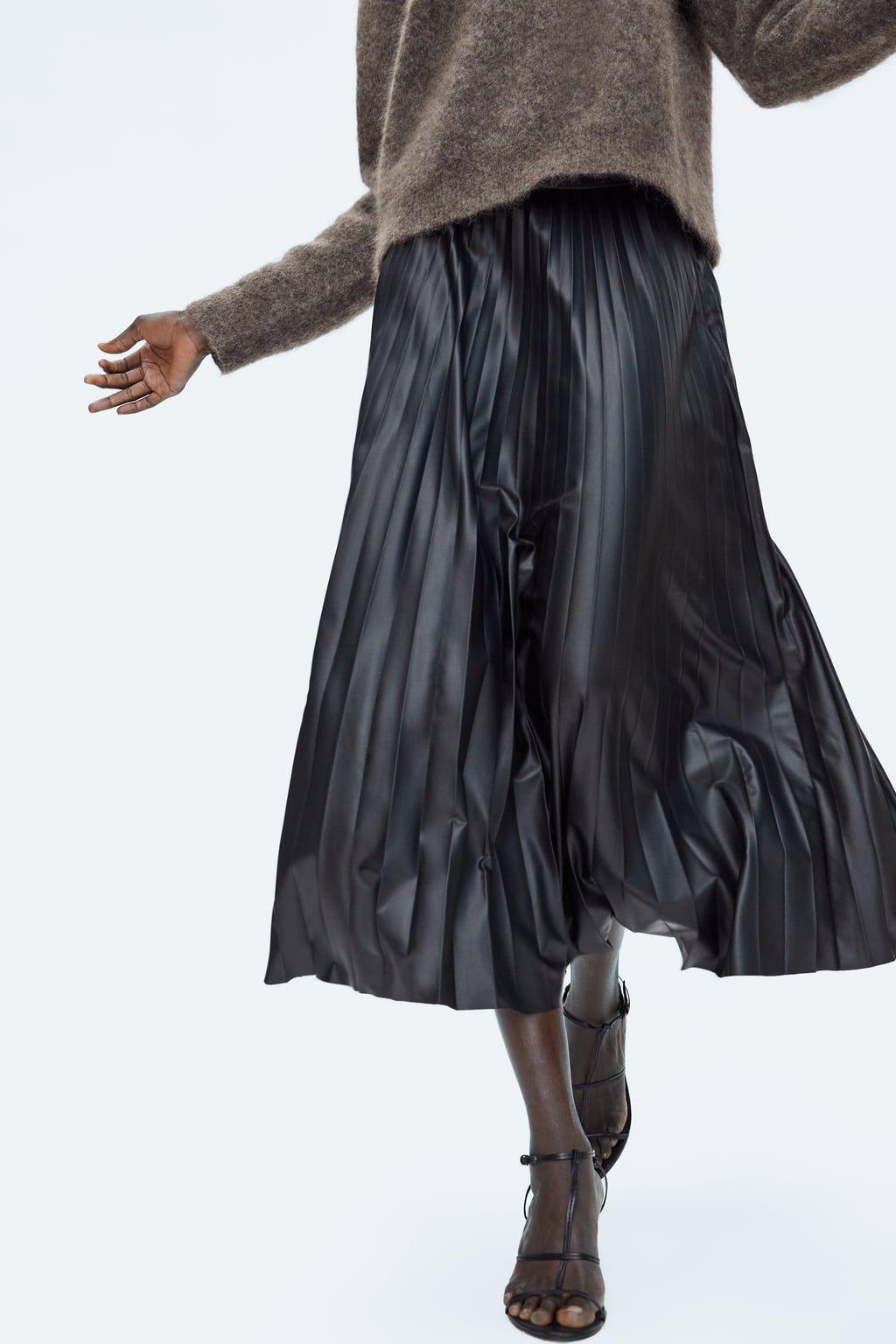 0dc51c90562aa6 Image 5 de JUPE PLISSÉE EFFET CUIR de Zara | A/W 2018/2019 | Jupe ...