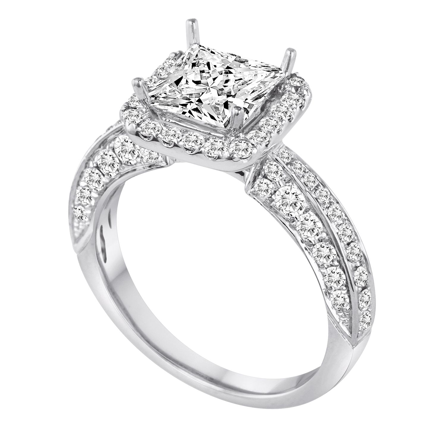 18K White Gold Pave Square Halo Engagement Ring with
